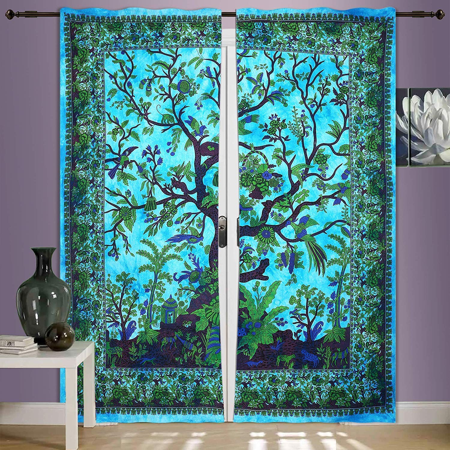 82 X 27 Inch Mandala Window Curtains Panels Pair 82 Length Set of 2,Bird Tapestry,Indian Hippie Curtains Bohemian Psychedelic TEXTILLHUB Terquies Tree of Life Curtain Wall Hanging,2 Panels Set