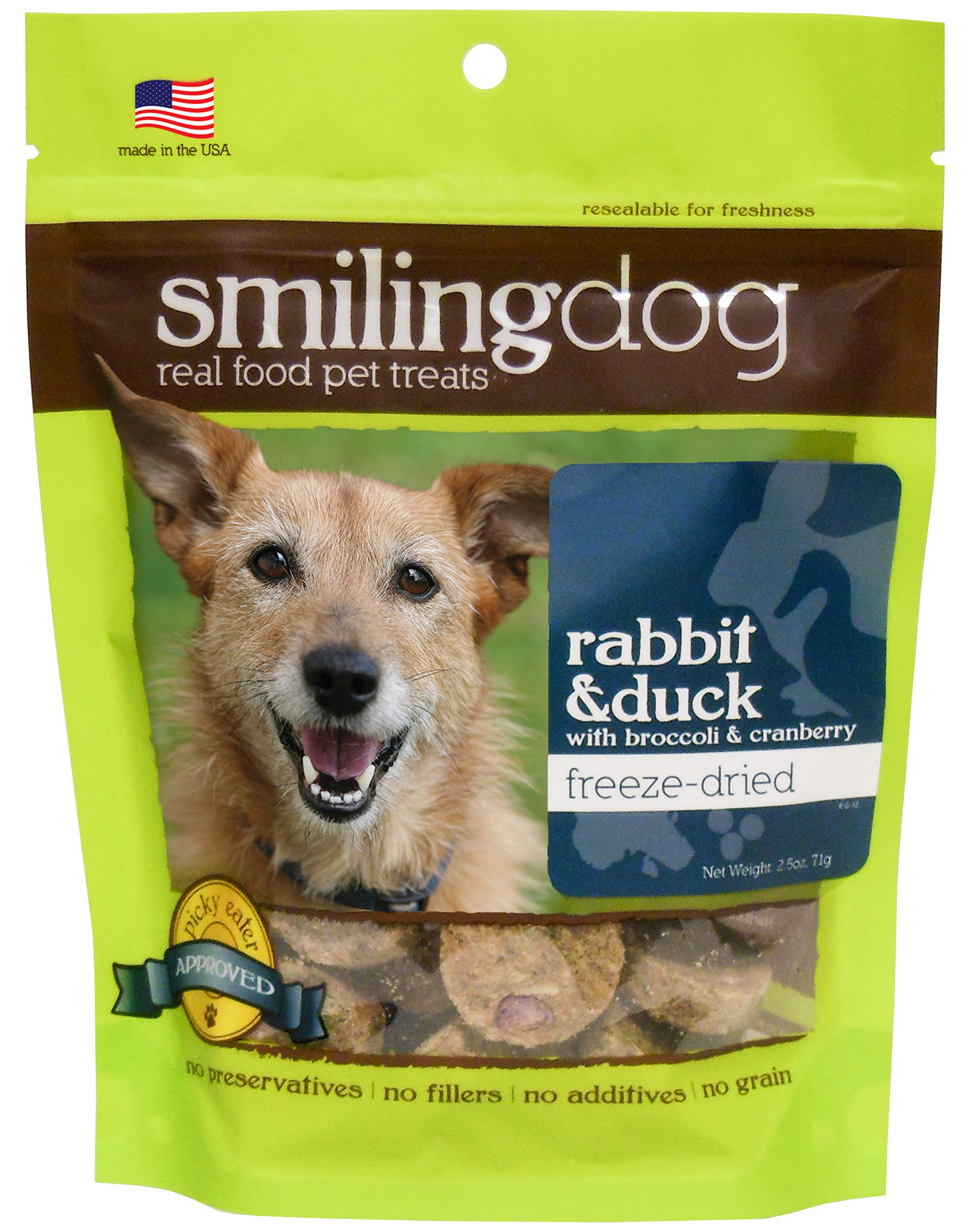 Herbsmith Smiling Dog Treats – Freeze Dried Raw Rabbit & Duck – Grocery-Grade Fruits + Veggies – Gluten + Grain Free – Made in USA – 2.5 Ounce by Herbsmith, Inc. (Image #1)