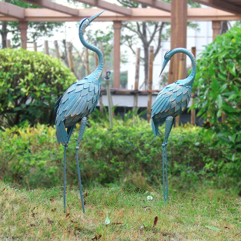 Oritty Crane Garden Statue for Outside, Metal Crane Yard Art for Outdoor Patio Backyard Pool Lawn Decor, Bird Garden Sculpture & Statues, Set of 2, Bronze