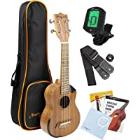 Martin Smith Sapele Wood Soprano Ukulele Starter Kit with Aqulia Strings – Includes online lessons, tuner, bag, strap and spare strings.
