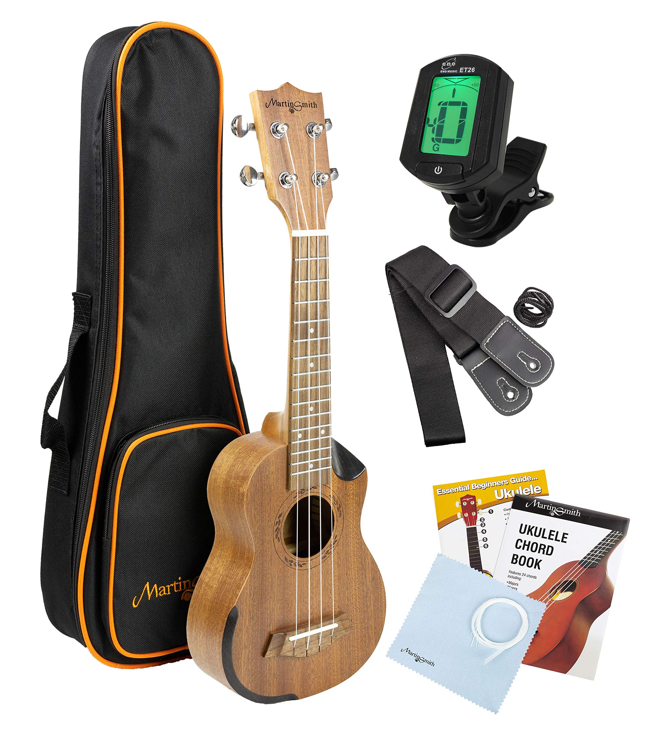 Martin Smith Soprano Ukulele Starter Kit with Aquila Strings - Includes Online Lessons, Tuner, Bag, Strap & Spare Strings