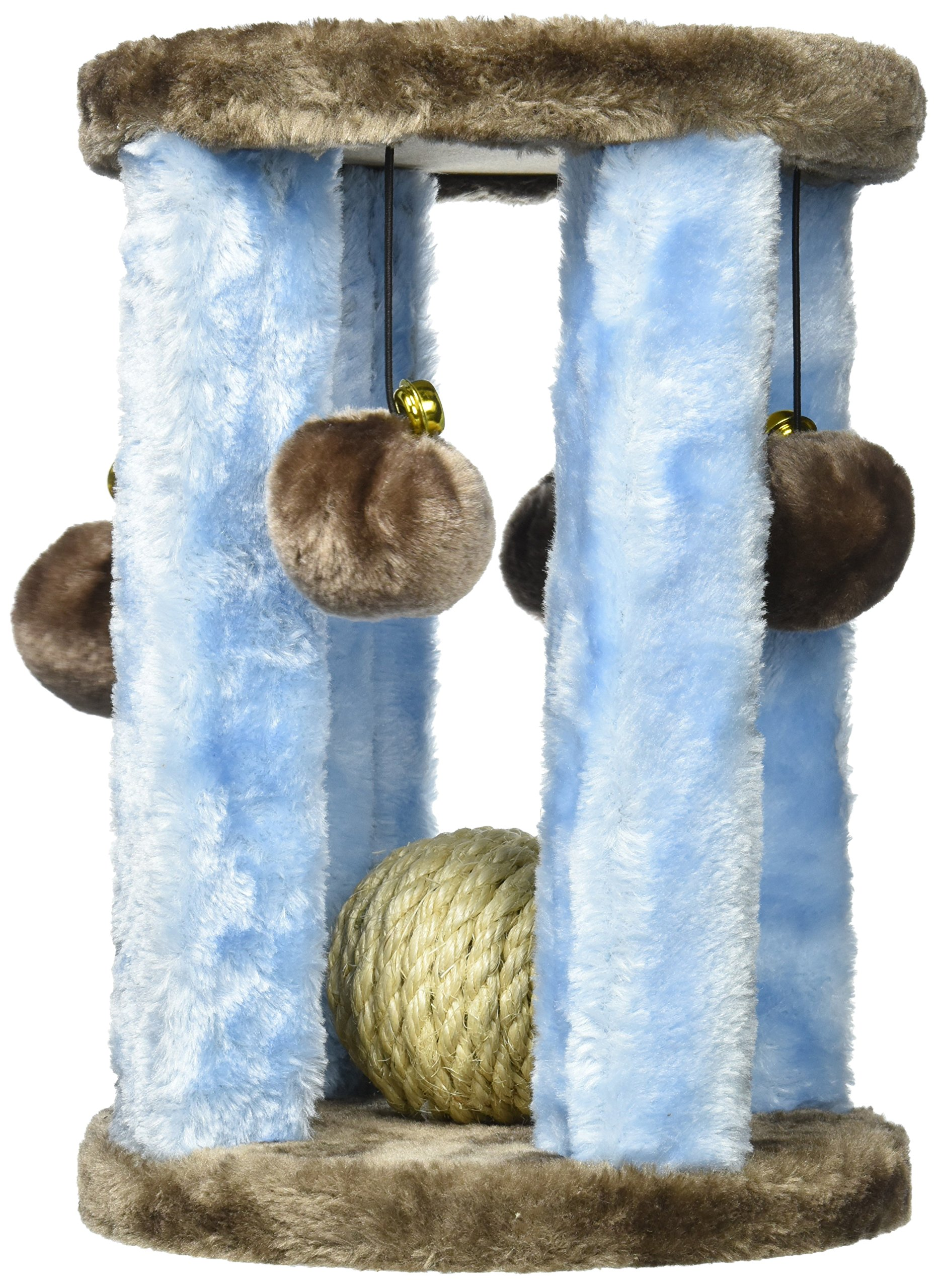 Penn Plax Cat Toy Activity Center with Sisal Ball, Bells and Swatting Balls, 11 Inches High