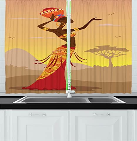 Ambesonne African Kitchen Curtains Creative Woman In Desert With Gulls Flying Around Folk Female Print Window Drapes 2 Panel Set For Kitchen Cafe Decor 55 X 39 Amber Tan Home