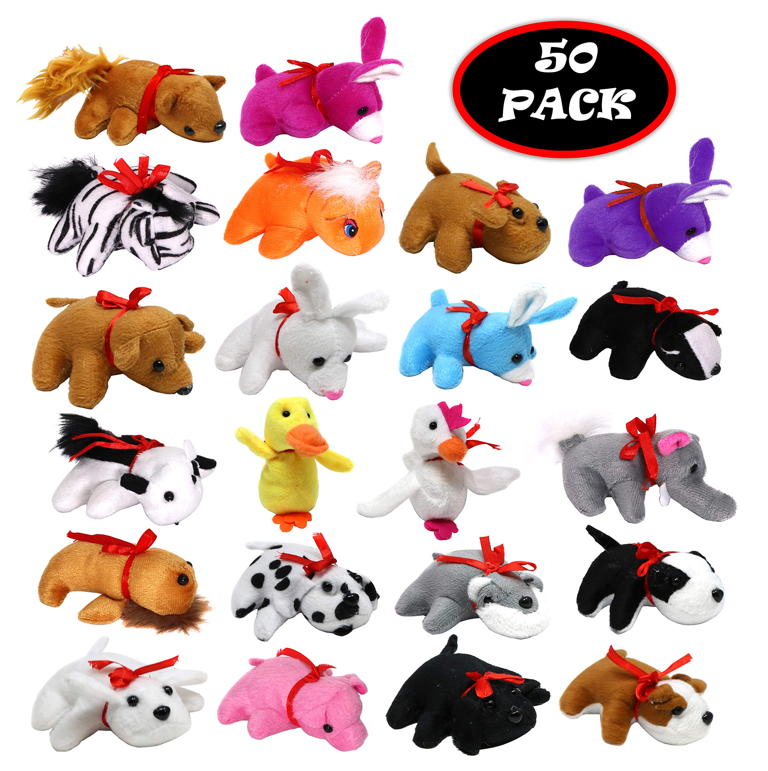 Mini Plush Bears And Stuffed Toy Animals Bulk Pack Of 50 by The Plush Family