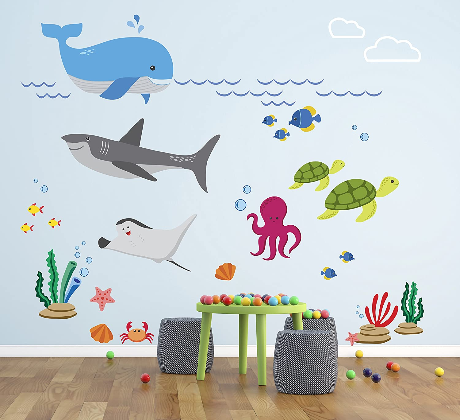 Amazon.com : Aquarium Theme Wall Decal - Under The Sea Nursery Wall Decals - Baby Room Wall Decor - Pinkie Penguin (60W X 48H) : Baby