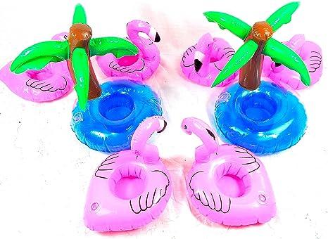 Flamingo Flotador Posavasos con Palmera Titular de Bebida Pool Decoraciones