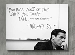 APPLEpie You Miss 100% of the Shots .Michael Scott Quote Poster High Definition Posters Standard Size 24 x 18 inch