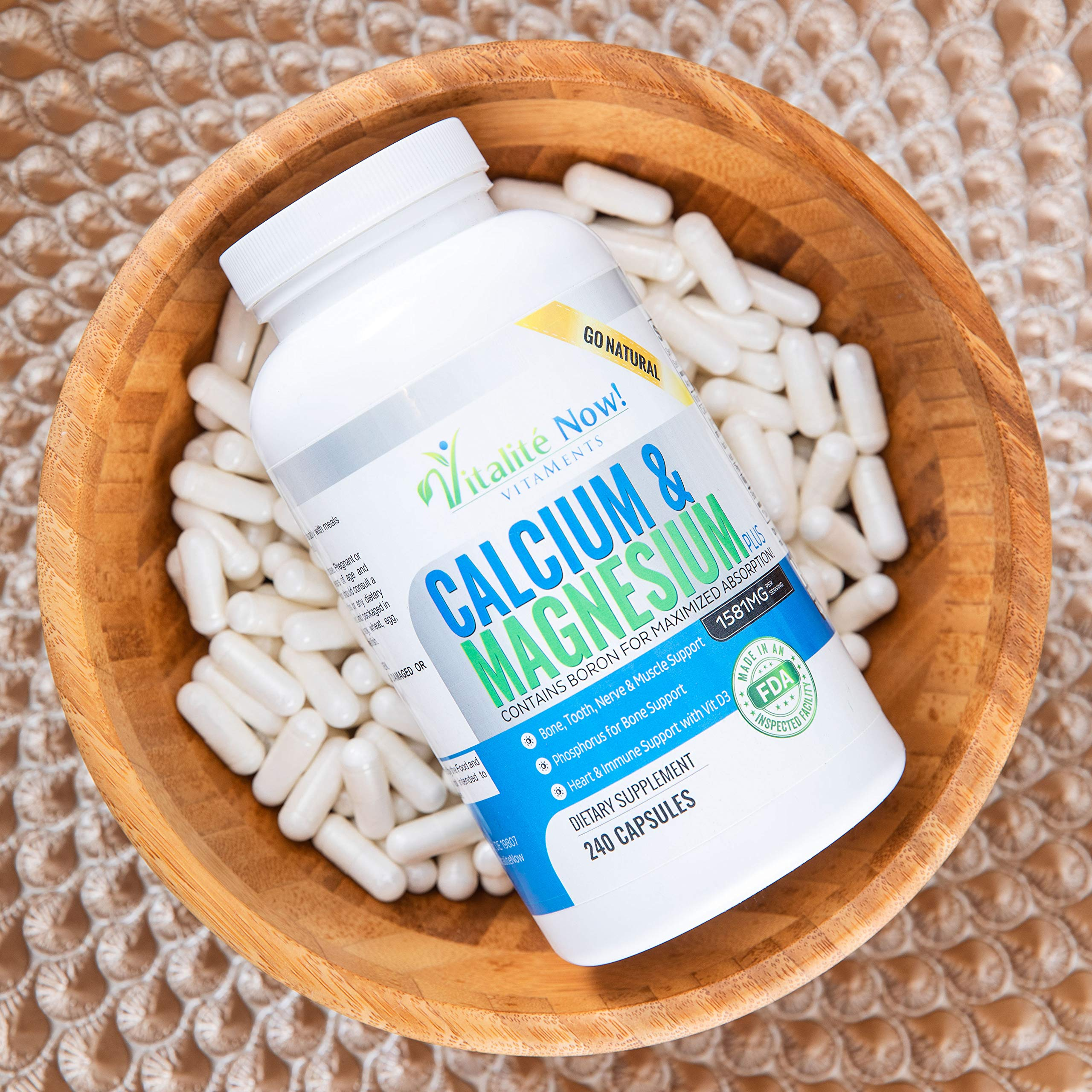 Best Calcium & Magnesium + Vitamin D3 400 IU - Highly Absorbable with Boron - 10 Forms of Calcium + Phosphorus for Bone Strength - All Natural - 240 Capsules - 2 Month Supply!