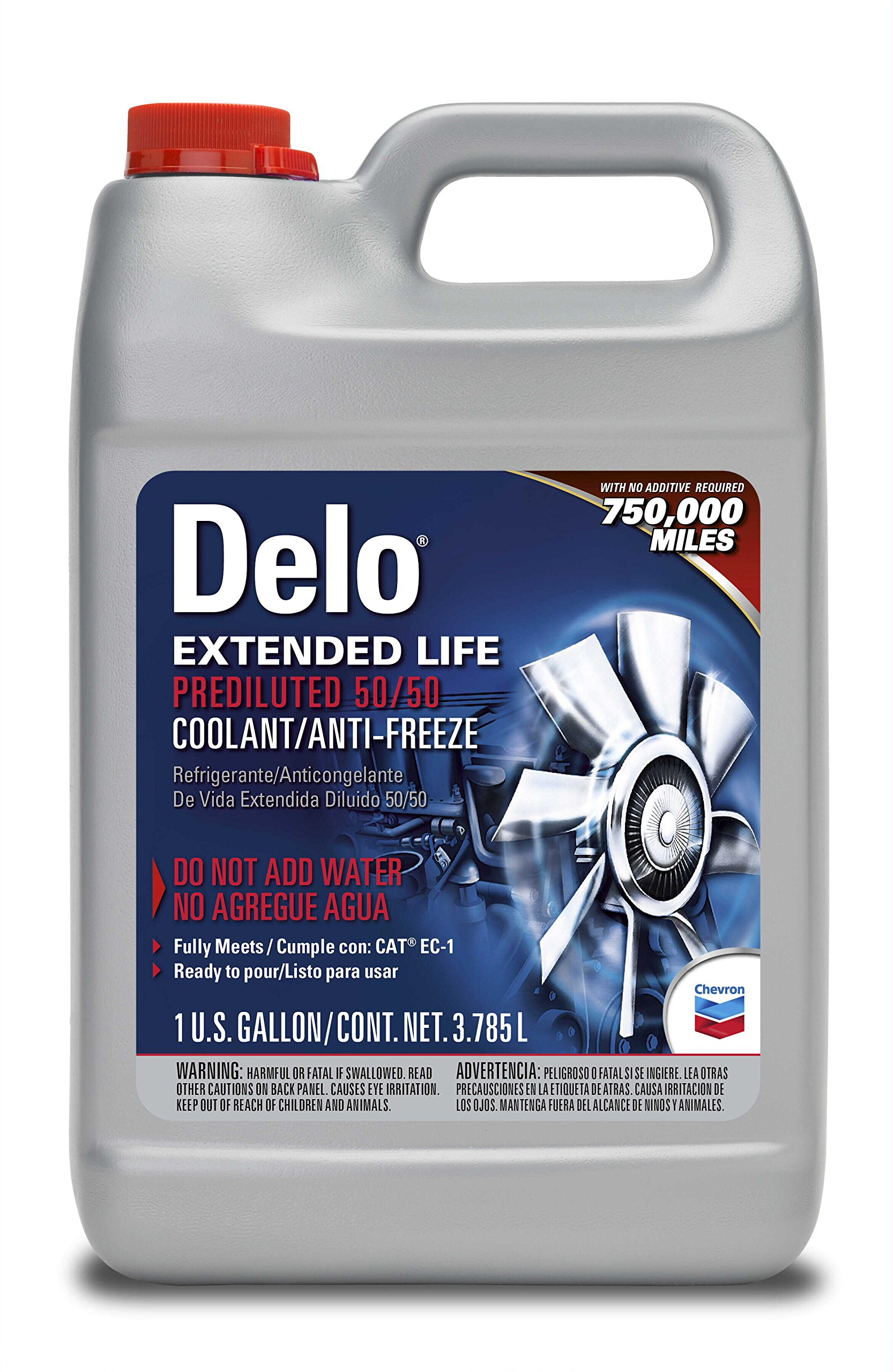 Delo 227811486 Extended Life Prediluted 50/50 Antifreeze/Coolant, 1 gallon, 6 Pack by Delo