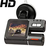 """HD Car Vehicle Dash Cam Dashboard Camera IR DVR Night Vision Recorder i1000 Model with 2.0"""" LCD screen with front and rear cameras"""