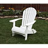 BRIGHT WHITE-POLY LUMBER Folding Adirondack Chair with Rolled Seating Heavy Duty EVERLASTING Lifetime PolyTuf HDPE - MADE IN USA - AMISH CRAFTED
