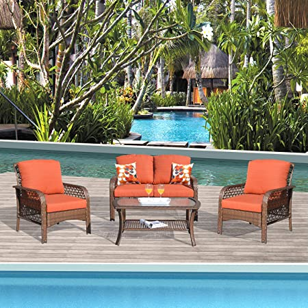 Amazon Com Xizzi Patio Sets Outdoor Patio Furniture All Weather Patio Furniture Pe Rattan Wicker With 2 Pillows And 1 Furniture Covers Brown Red Red Garden Outdoor