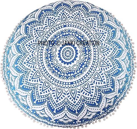 32 x 32 hippie hippy Tapestry redondo suelo algodón Mandala redondo suelo indio decorativo tapiz Pom Pom redonda Pouf Mandala indio manta redondo almohada cojín para,: Amazon.es: Hogar
