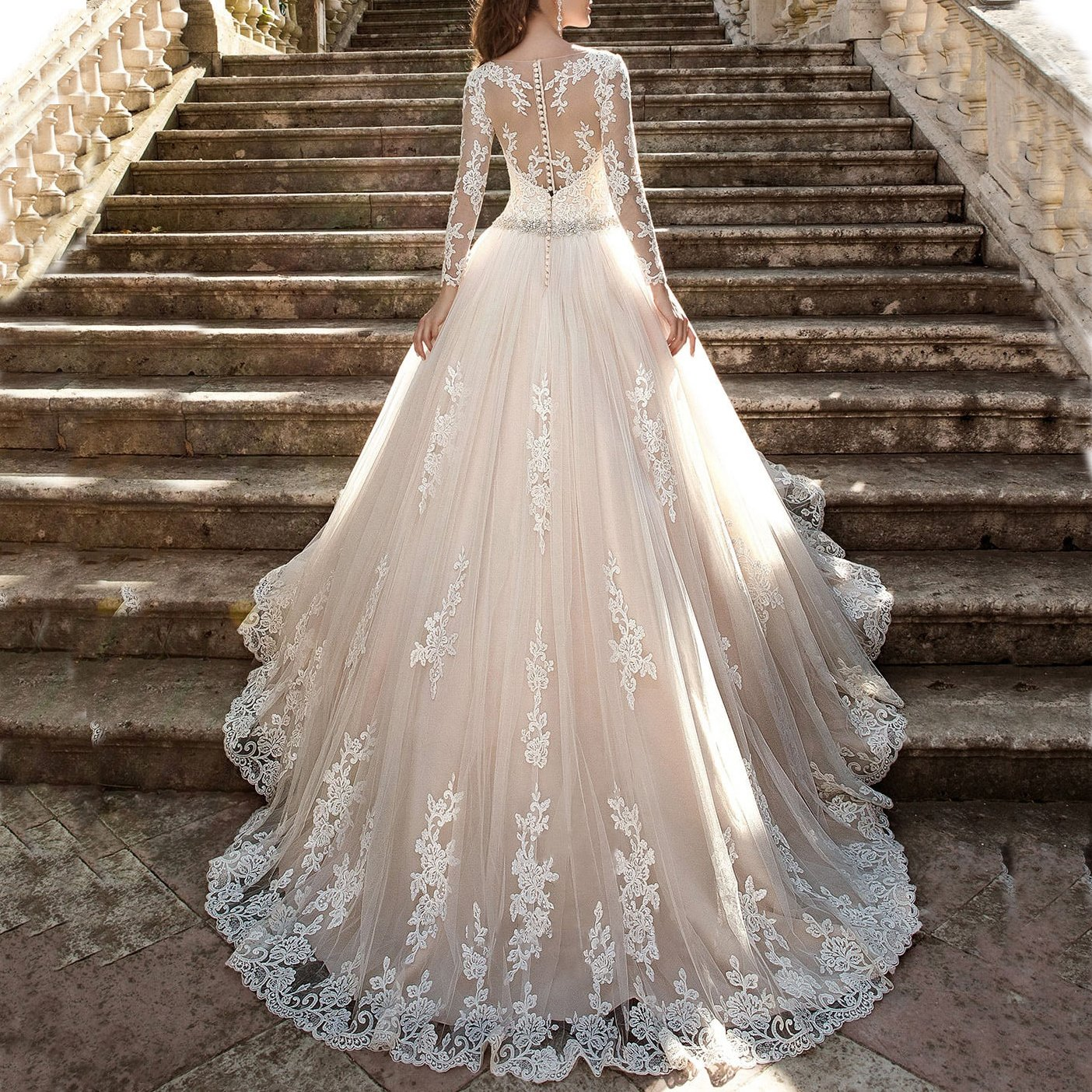 westcorler Luxury Wedding Dress Long Sleeves Ball Gown Lace Wedding Dresses (us14, Ivory) by westcorler (Image #3)