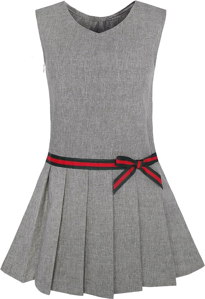 Sunny Fashion Vestido para niña Gris Uniforme Escolar Plisado ...