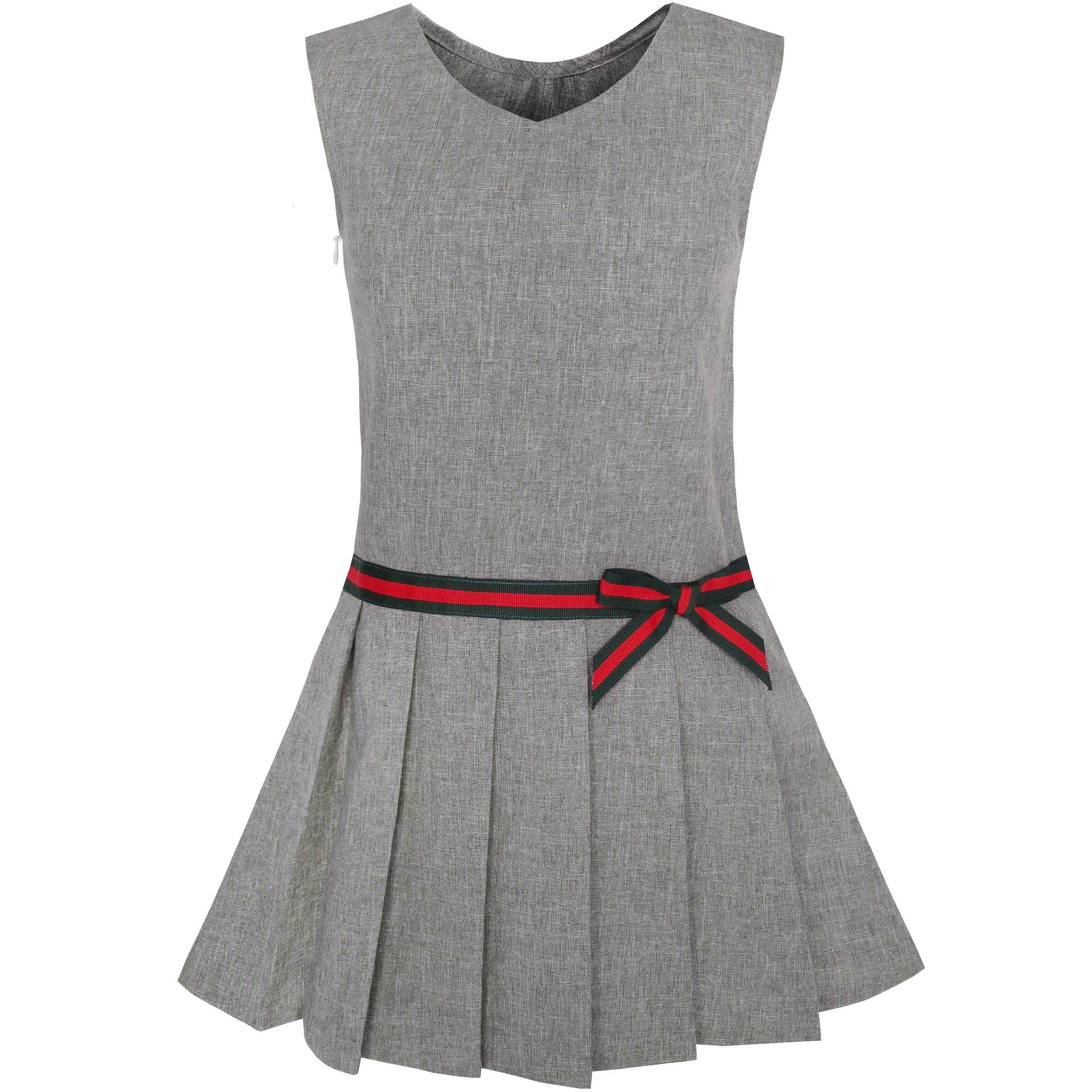Sunny Fashion KX27 Girls Dress Gray School Pleated Skirt Dress Size 12