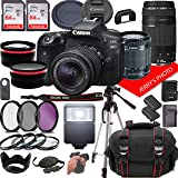 Canon EOS 90D DSLR Camera w/Canon EF-S 18-55mm F/3.5-5.6 is STM + EF 75-300mm F/4-5.6 III Zoom Lenses + Case + 128GB…
