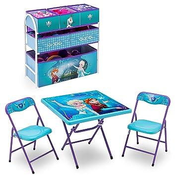 Disney Frozen Playroom Solution Set (Table U0026 Chair Set + Metal Multi Bin Toy