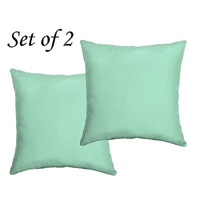"""Comfort Classics Inc. Set of 2 Indoor/Outdoor Throw Pillow 16"""" x 16"""" x 5"""" in Polyester Mint Texture : Garden & Outdoor"""