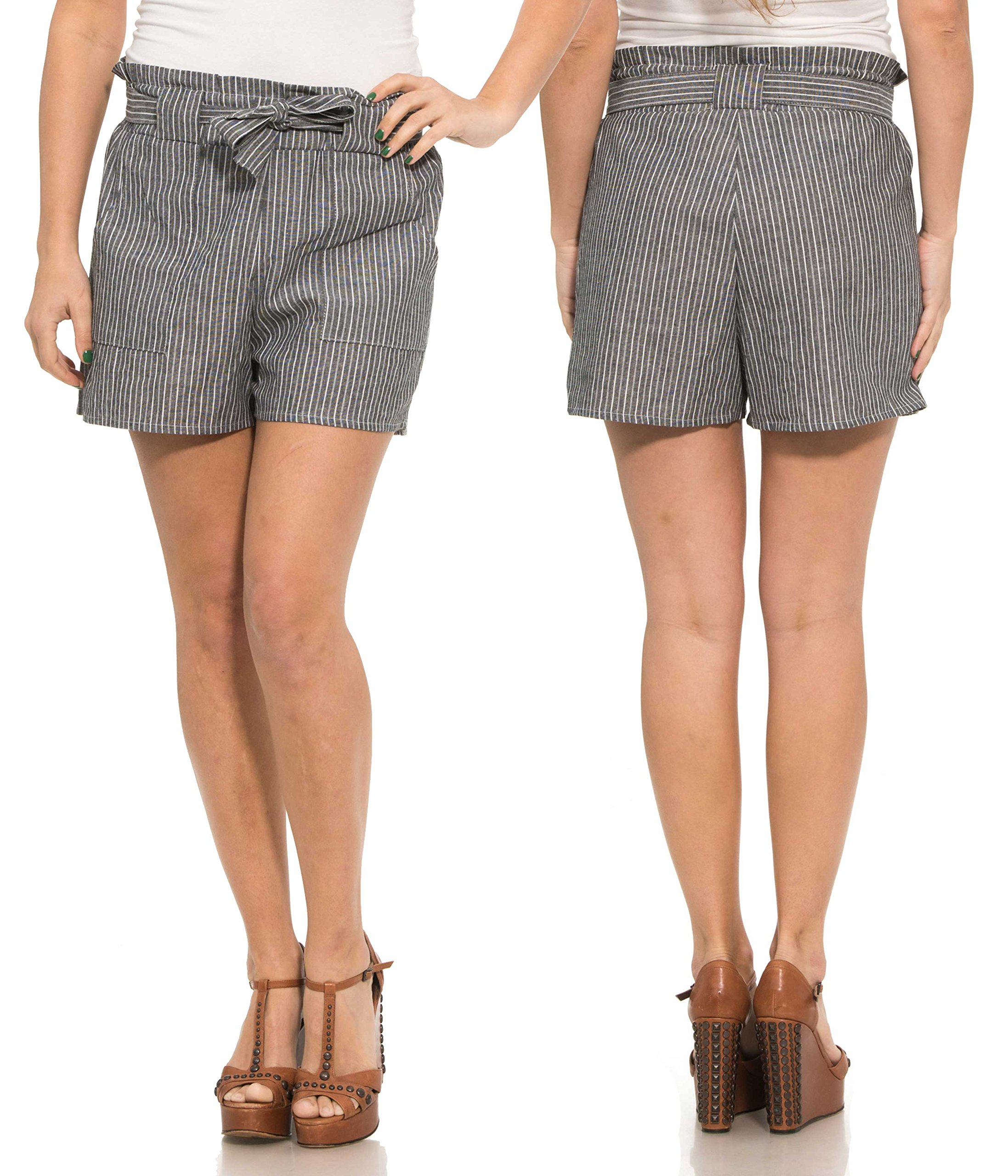 Maze Collection Ladies Tie-On Belted High Waist Striped Shorts with Side Pockets (Large, Black)