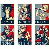 Set of 4 Food Wars Shokugeki no Souma Anime Acrylic Keychain Yukihira Erina Mito