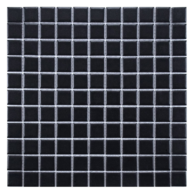 Matte Black 11.75 x 11.75 SomerTile FXLMS1BK Retro Square Porcelain Floor and Wall Tile