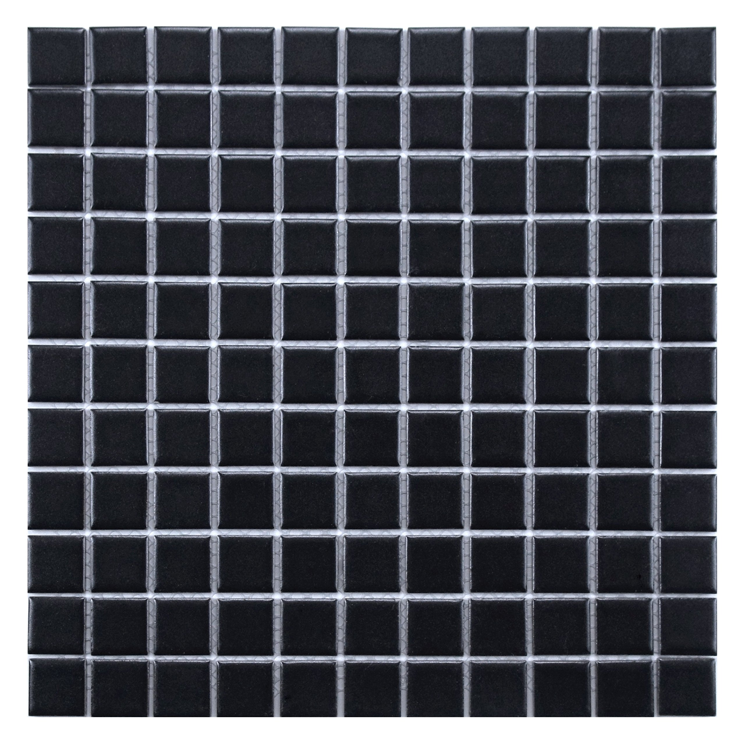 SomerTile FXLMS1BK Retro Square Porcelain Floor and Wall Tile, 11.75'' x 11.75'', Matte Black