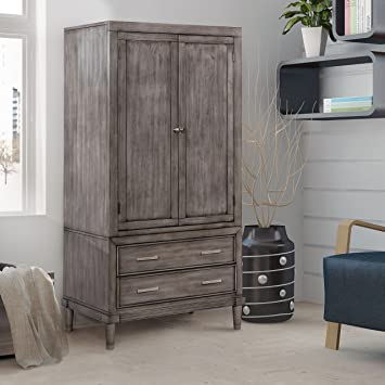 Furniture Of America Corinate Transitional Grey 2 Drawer Double Door  Bedroom Armoire