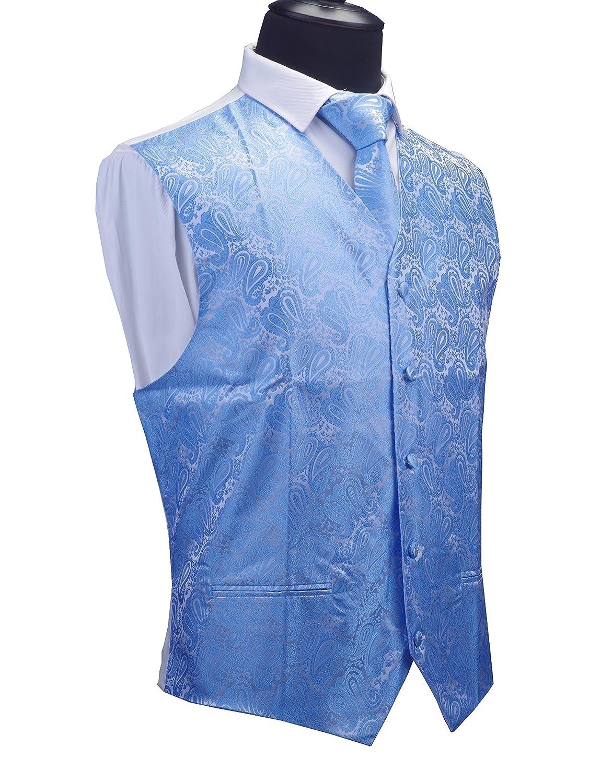 GUSLESON 3pc Mens Paisley Vest Necktie Pocket Square Set Waistcoat for Suit Tuxedo GUS23