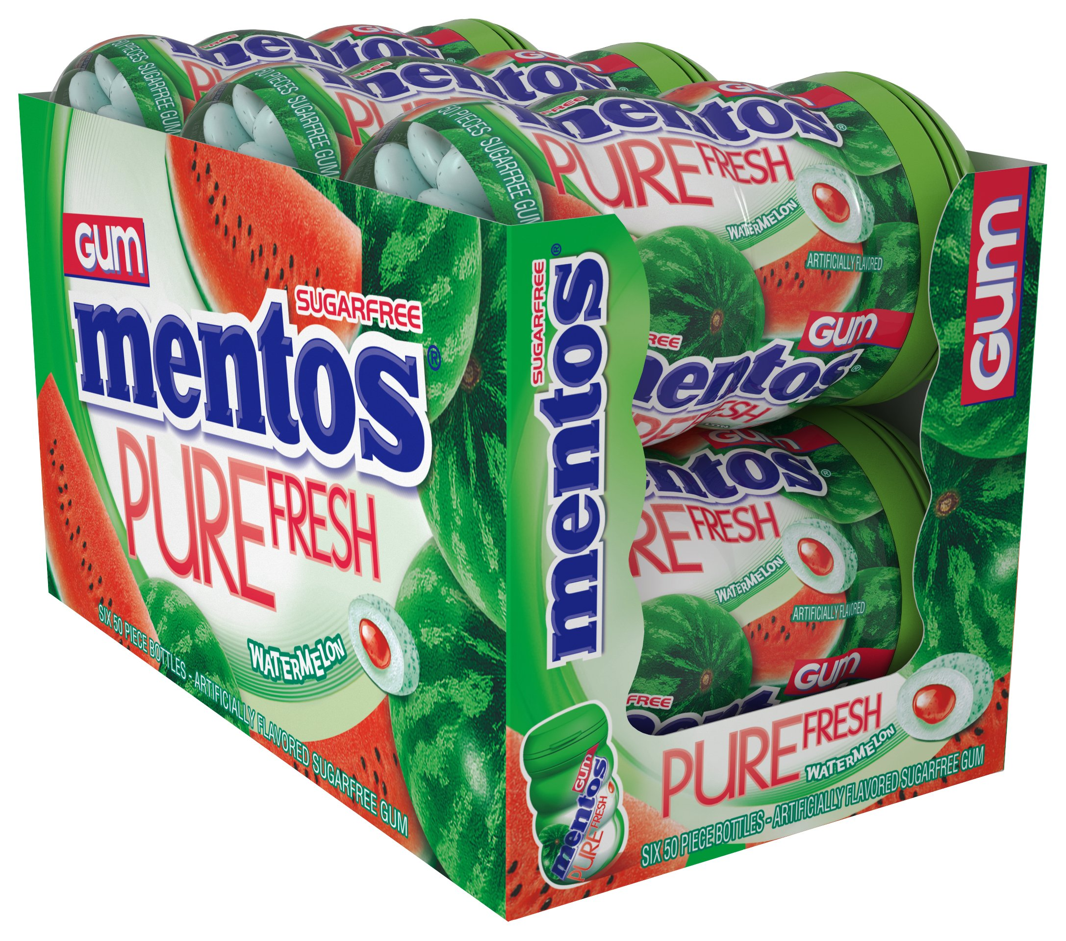 Mentos Pure Fresh Sugar-Free Chewing Gum with Xylitol, Watermelon, Halloween Candy, Bulk, 50 Count, Pack of 6 by Mentos