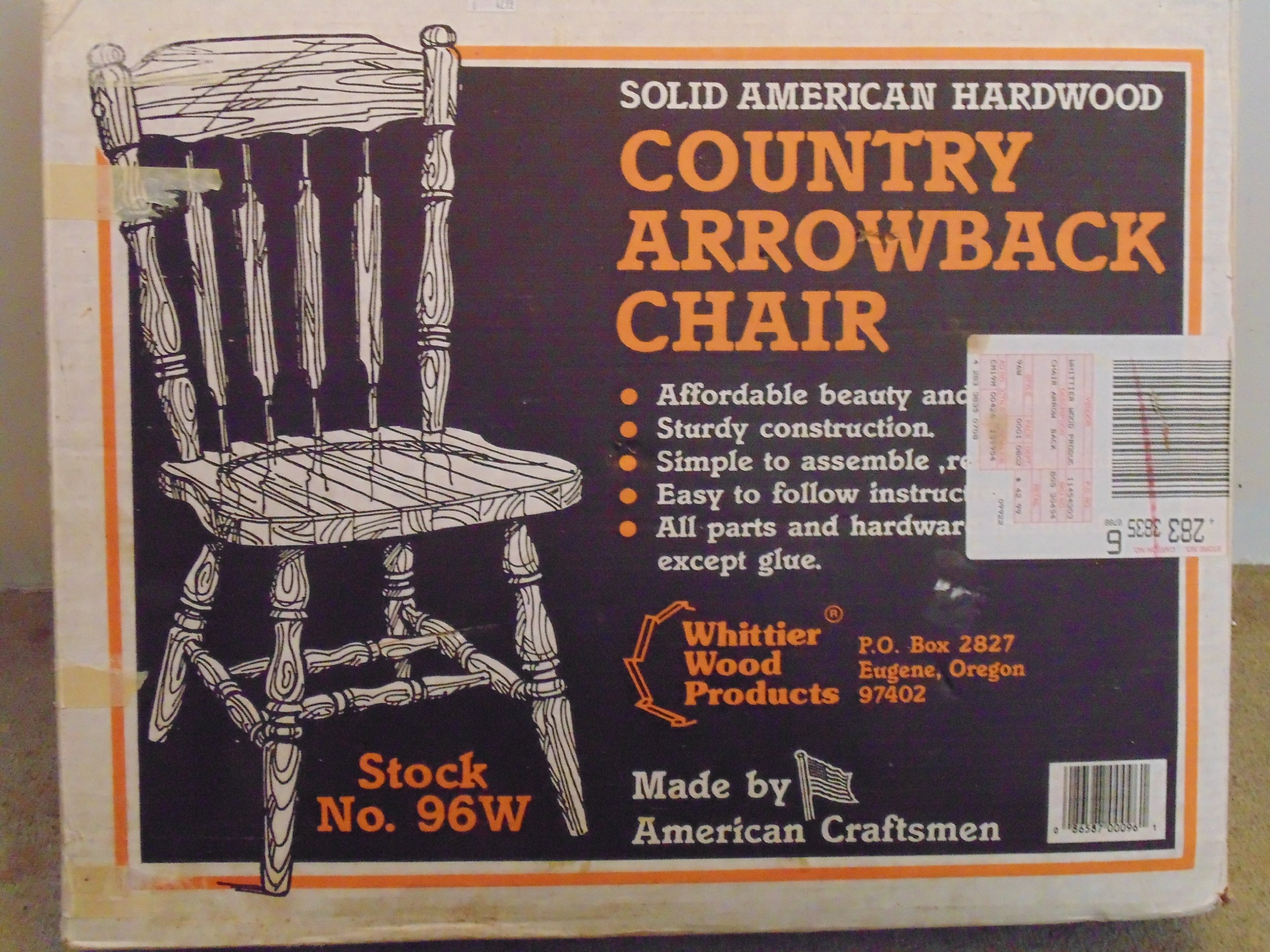 Solid American Hardwood-''Country Arrowback Chair'' (Unfinished Kit)