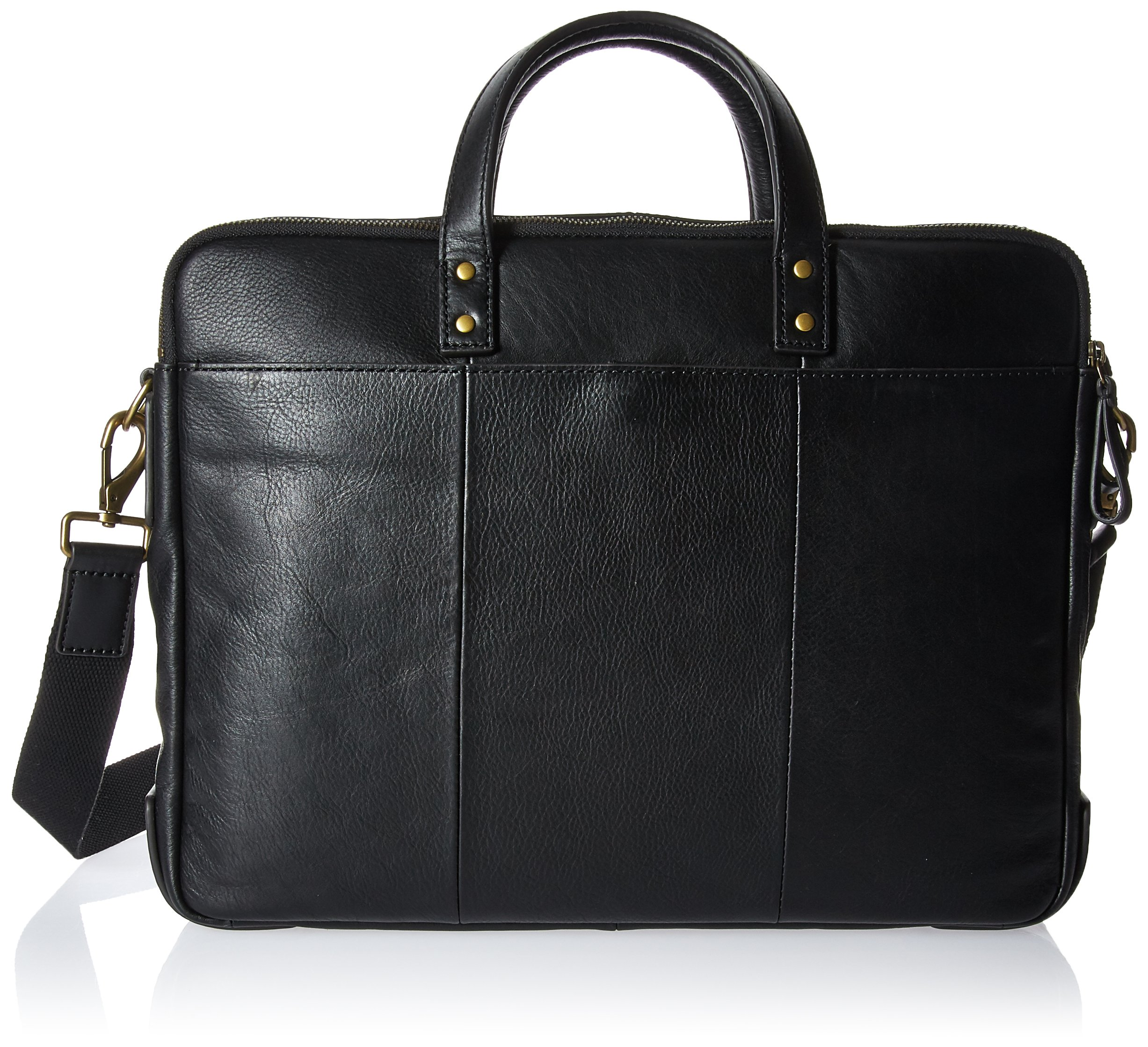 Muiska Leather Top-Zip 17 Inch Laptop Briefcase, Black, One Size