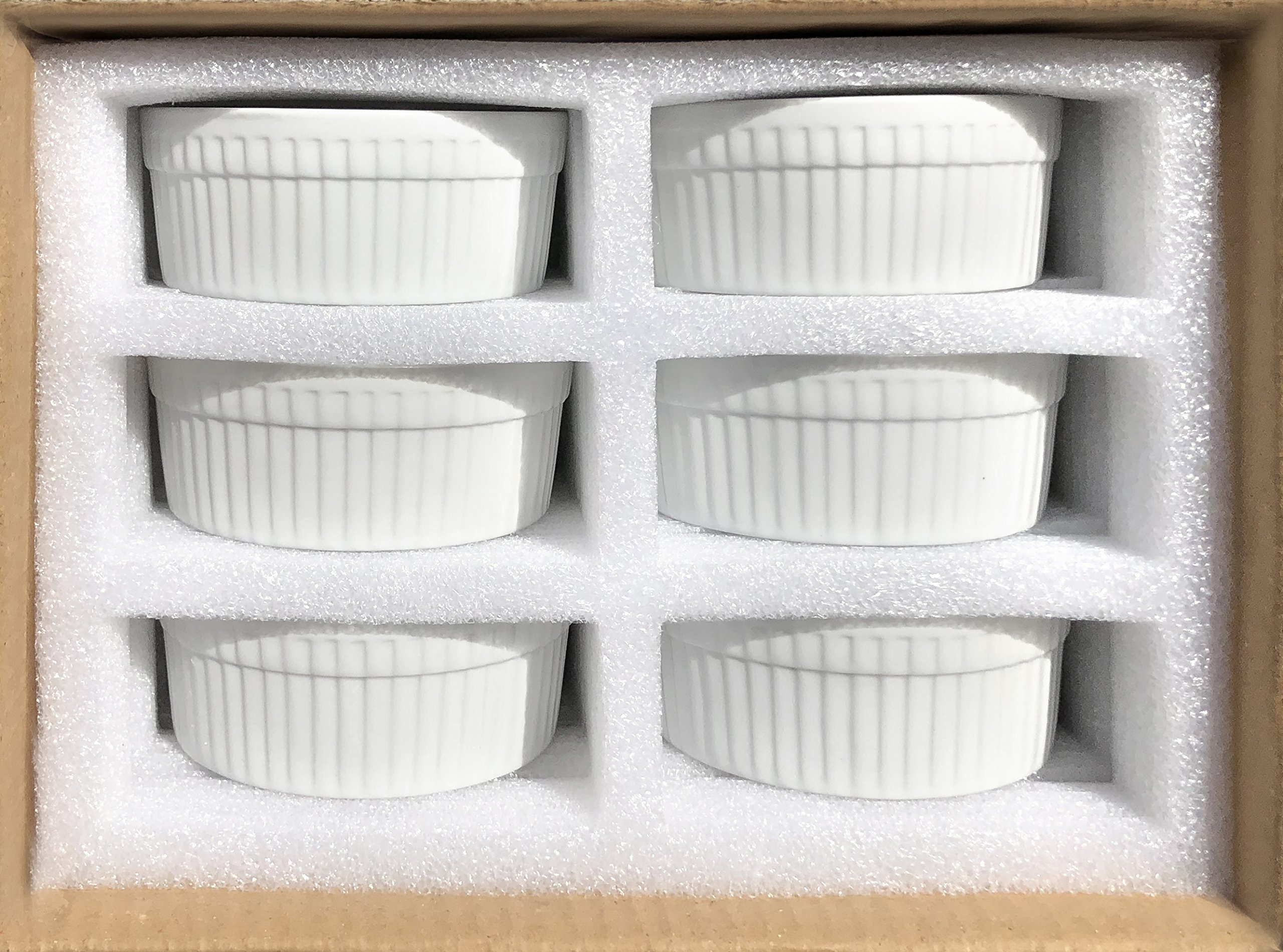 Furmaware White Porcelain 6oz Ramekins Set: 6-Piece Baking & Serving Individual Ramekin Bowls  Sturdy & Classy No Odor & Easy To Clean Ramekin Cups  Decorative Soufflé, Sauce, Dressing & Dip Ramekins