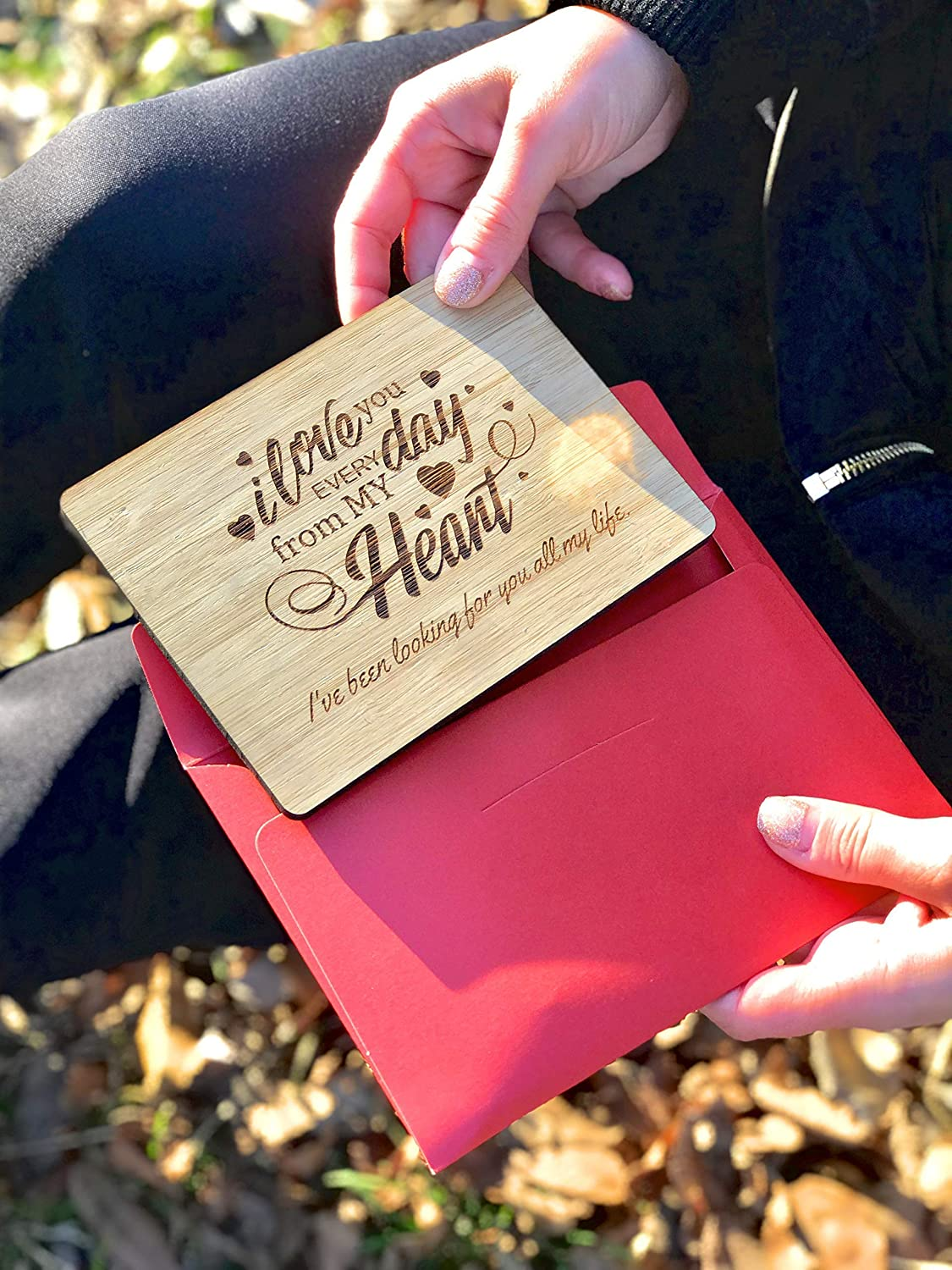 Gift for Him or Her Woman/'s Day Love Every Day from My Heart Husband or Wife Fiancee Girlfriend or Boyfriend Anniversary Zuaart Love Greeting Card Handmade with Real Bamboo Wood and Stand