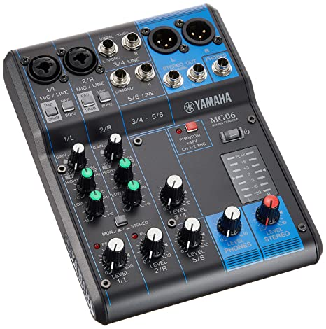 Yamaha MG06 6-Channel Mixer with 2 D-PRE Mic Preamps (Black) DJ Mixer at amazon