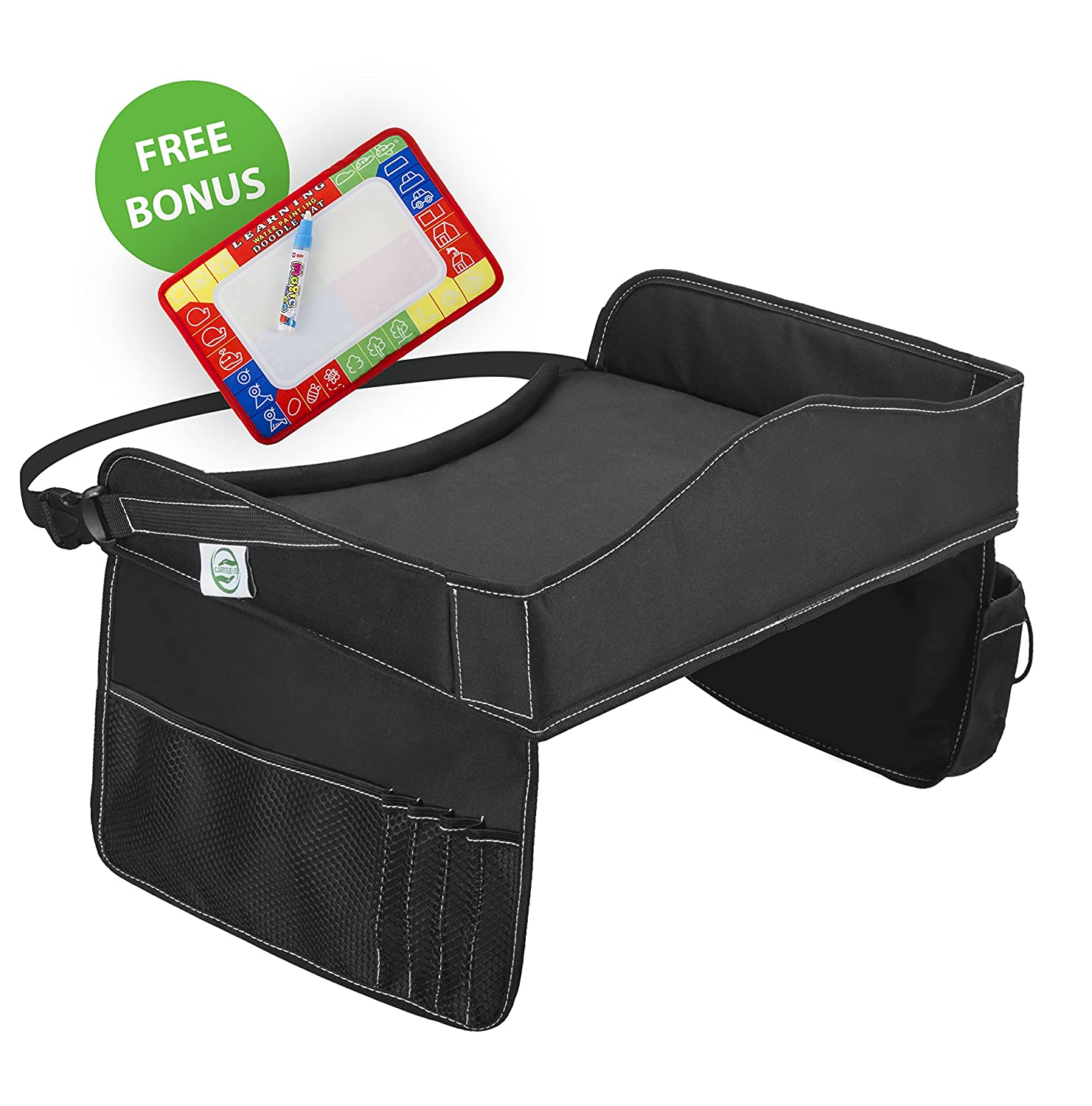 Play Travel Tray W/Mat & Magic Erasable Pen | Ergo Fit, Side Mesh Pockets, Portable W/Adjustable Straps | Kid Play Tray, Play Tray Kids, Play Tray for Kids, Car Drawing Board, Travel Play Tray CaringEver