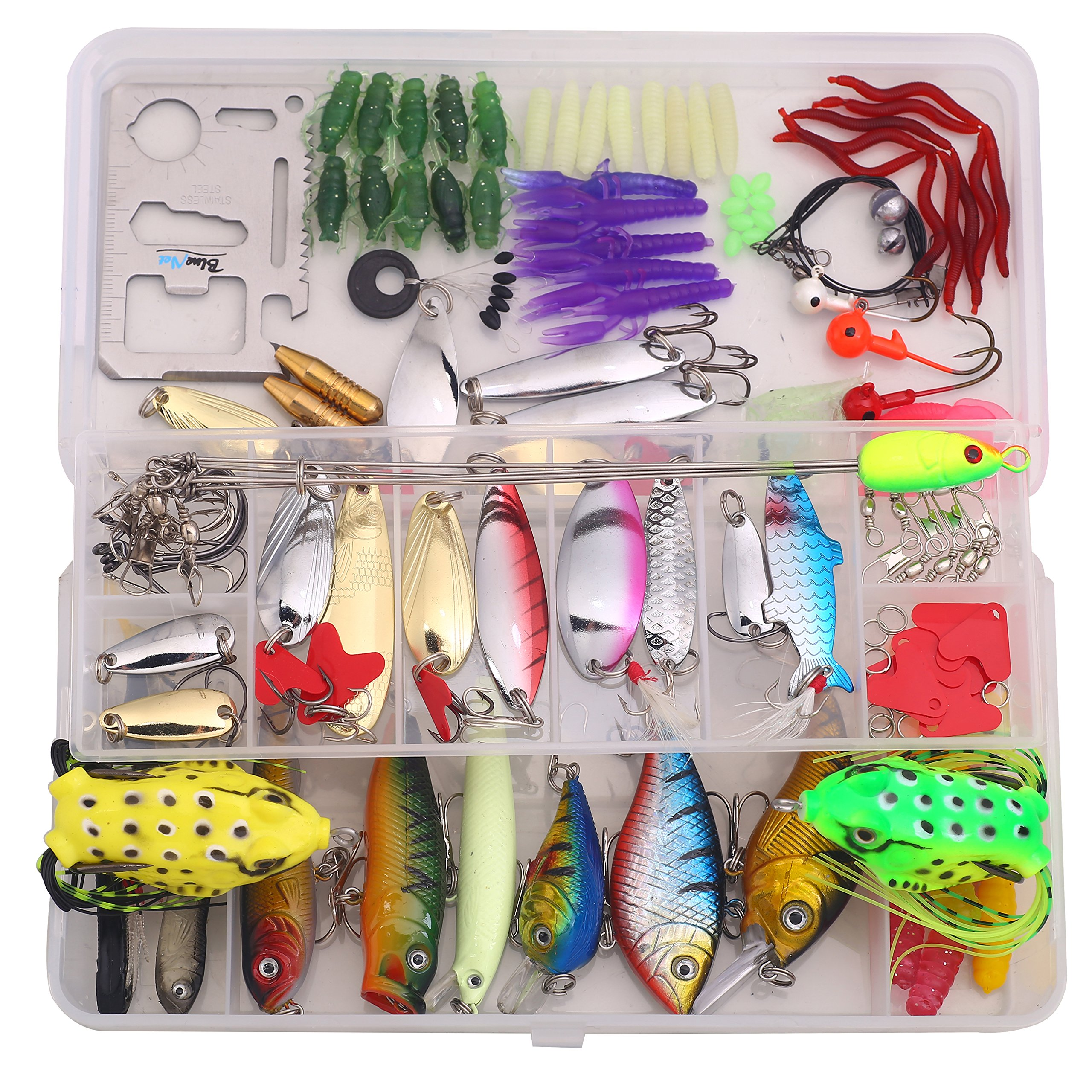 Bluenet Fishing Lures Set Fishing Lure Kit Freshwater with a Free Tackle Box