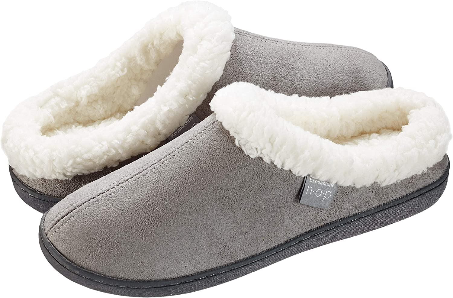 Brookstone New Orleans High order Mall Slip-On Sherpa Slippers - Supportive Foam Memory Temp