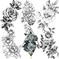 6 Sheets FANRUI Sexy Large Geometric Flowers Temporary Tattoos For Women Girls Triangle Rose Painting Big Peony Tatoos Paper