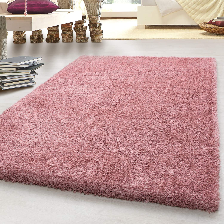 HomebyHome Hochflor Shaggy SCHAFFELL Kunstfell Teppich, Carpet Uni Farben, Wohnzimmer, Größe 200x290 cm, Farbe Rose