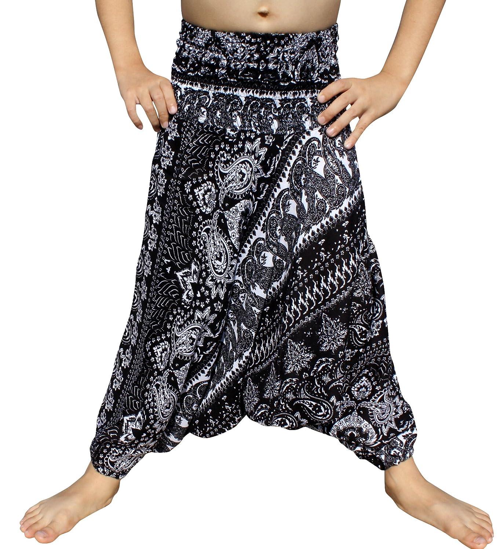 RaanPahMuang Smock Waist Rayon Aladdin Harem Baggy Pants in Mixed Artworks variant55330AMZ