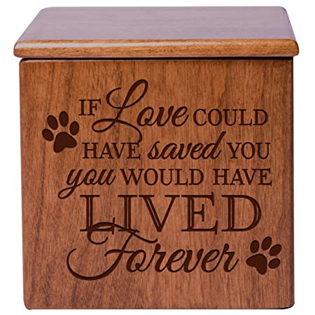 Cremation Urns for Pets Small Memorial Keepsake Box for Dogs and Cats, Urn for pet Ashes If Love Could Have Saved You You Would Have Lived Forever Holds Small Portion of Ashes Cherry