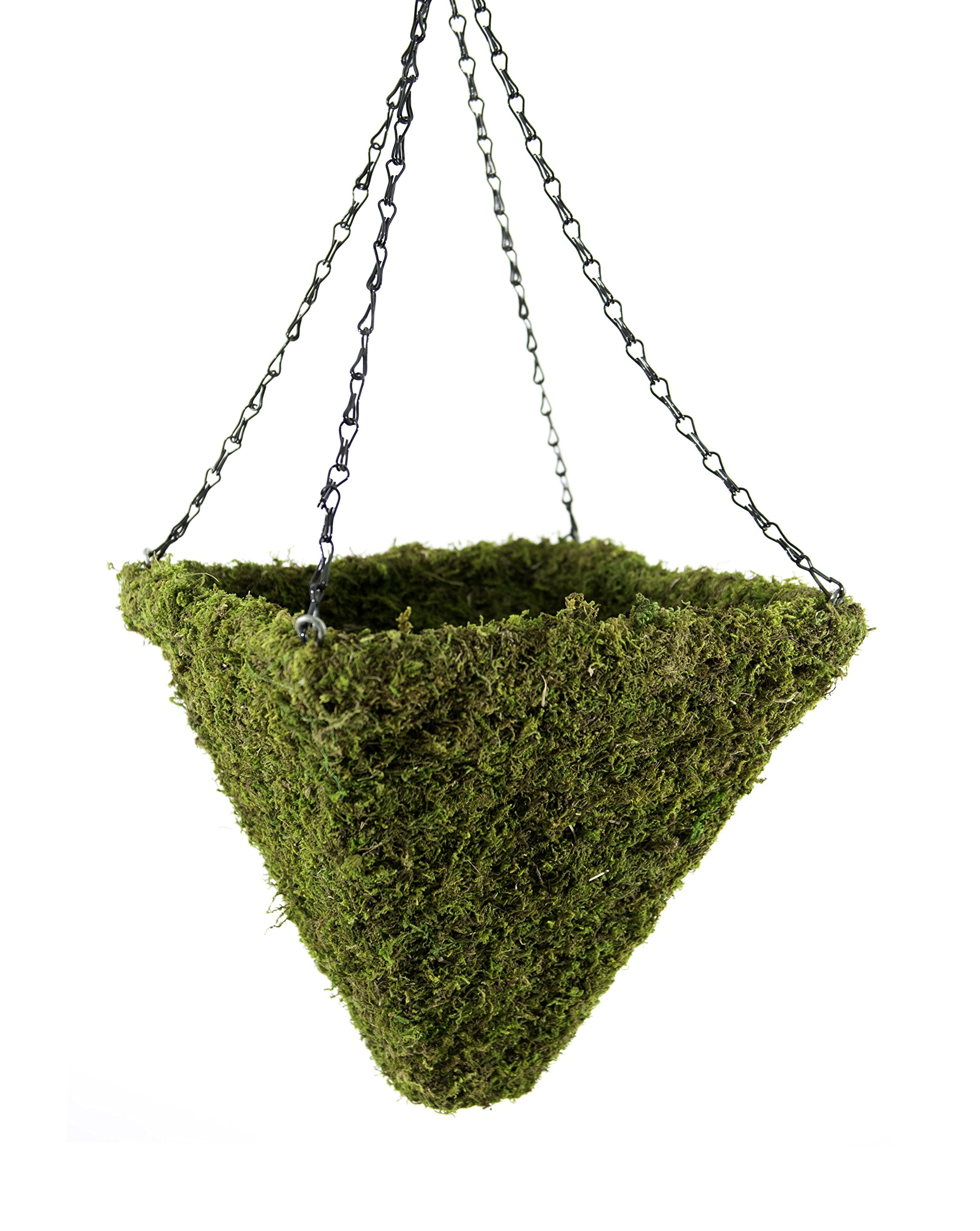 Super Moss (29308) MossWeave Hanging Basket - Pyramid, Fresh Green, Large (14.5'')