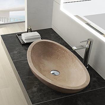 MAYKKE Livingston 24 Inch Oval Bathroom Stone Sink Beige Natural Travertine Sinks For
