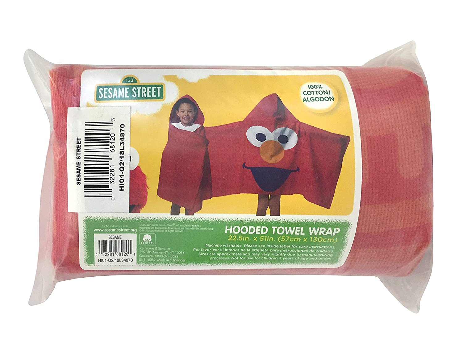 Jay Franco Sesame Street Super Soft & Absorbent Kids Hooded Bath/Pool/Beach  Towel, Featuring Elmo - Fade Resistant Cotton Terry Towel, 22 5