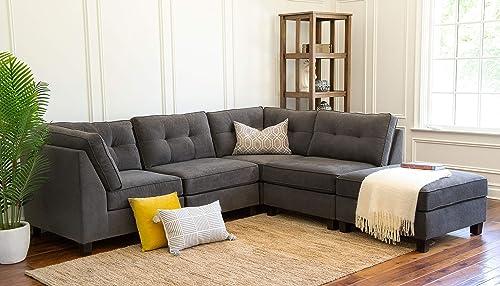 Abbyson Living Fabric Upholstered 5-Piece Modular Sectional Sofa