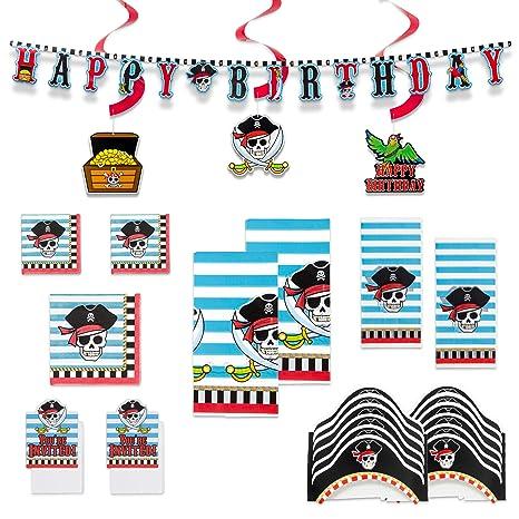 Amazon.com: Paquete de fiesta pirata grande: incluye 2 ...