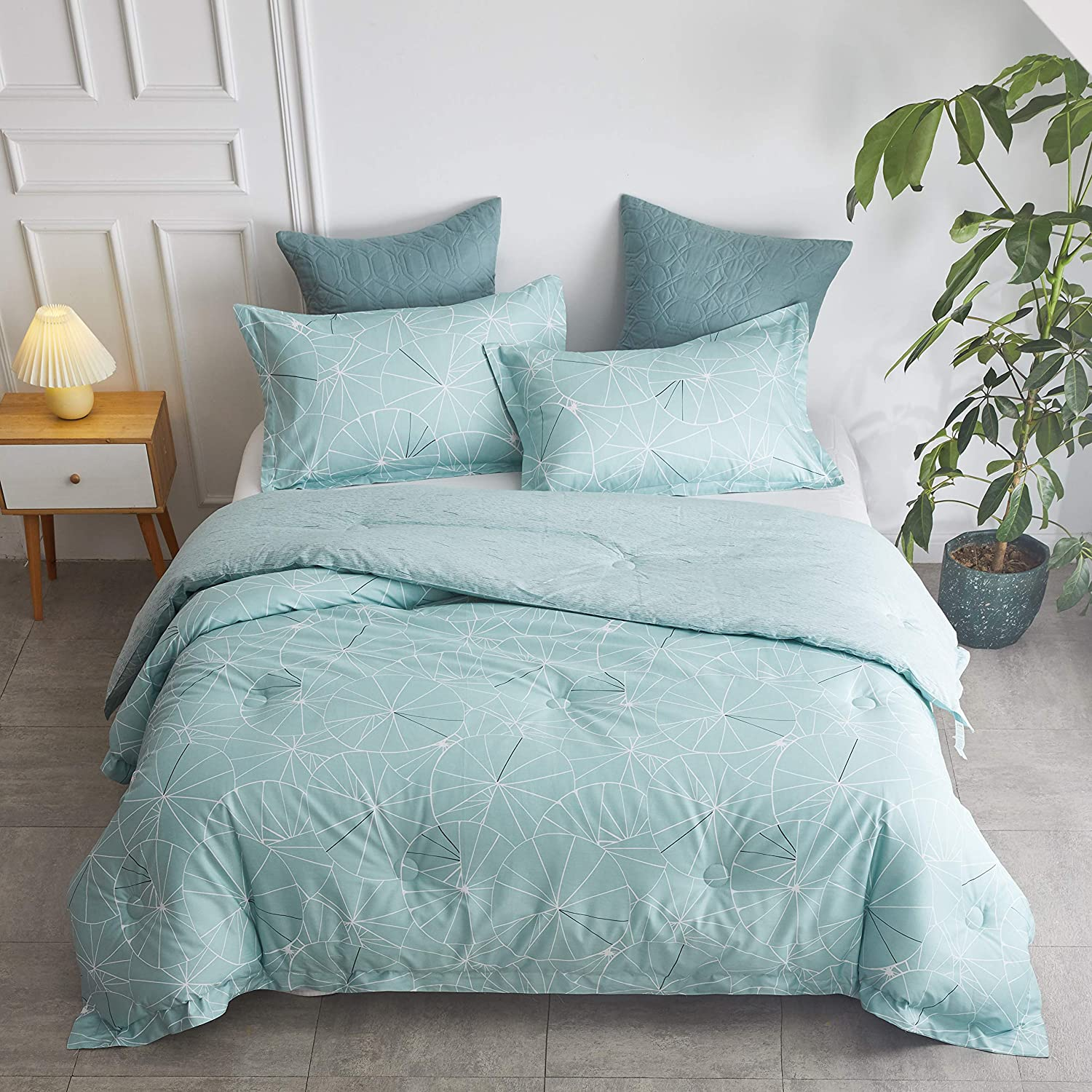 J-HOME COLLECTION 100% Cotton Percale Reversible Pattern Comforter Set with 2 Pillow Shams - Down Alternative Comforter - 3 Piece Comforter Set - All Season Comforter Set (Jade, Full/Queen)