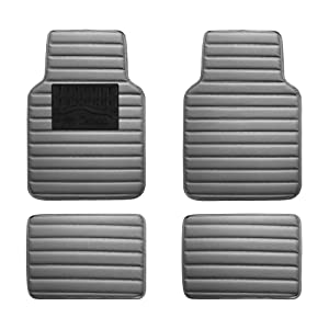FH Group F12001GRAY Luxury Universal All-Season Heavy-Duty Faux Leather Car Floor Mats Stripe Design w. High Tech 3-D Anti-Skid/Slip Backing