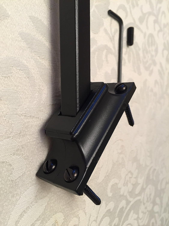 S.G Curtain Poles Soporte de Metal para balaustres de Escalera de Hierro Forjado para Adaptarse a Barras cuadradas de 12 mm en escaleras anguladas, Color Negro